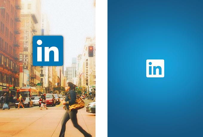 LinkedIn mobile app splash screens