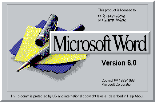 MS Word splash screen